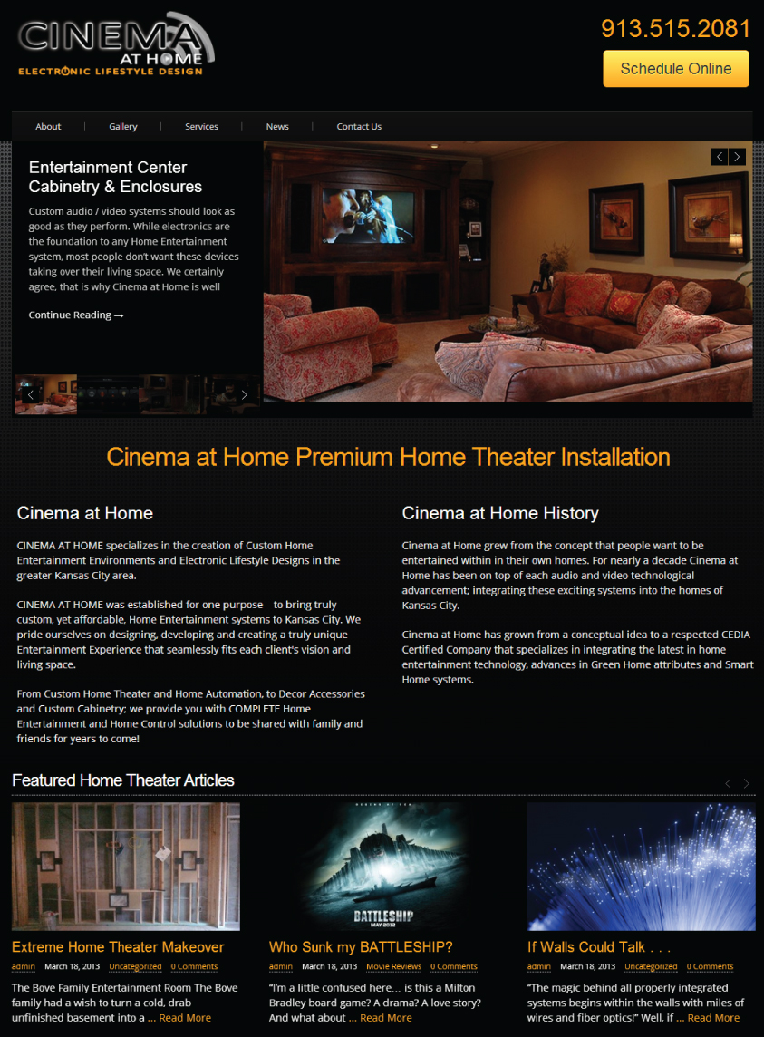Cinema at home home theater website design overland for At home web design